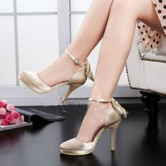 67.19$  Buy here - http://aliquu.worldwells.pw/go.php?t=1561271022 - Spring Autumn Bridal Dress Shoes Wedding Party Shoes Handmade Satin High Heel Shoes Platform Pumps Champagne Evening Shoes 67.19$