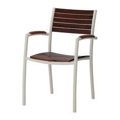 VINDALSÖ Nojatuoli, ulkokäyttöön, valkoinen, eukalyptus ruskeaksi petsattu