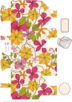 Favor Box Template with Floral Pattern to Print, Cut and Fold Paper craft