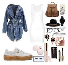 A fashion look from November 2016 featuring white dress, hooded denim jacket and puma creeper. Browse and shop related looks. Huda Beauty, Paris, Shoe Bag, American, My Style, Cute, Polyvore, Stuff To Buy, Accessories