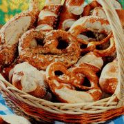 Bavarian Pretzels: Ingredients 1 package active dry yeast 1/8 cup warm water 1 1/3 cup warm water 1/8 tsp sea salt 4 ½ cups flour 2 tbsp baking soda Preparation Preheat oven to 400°F. In a bowl, dissolve yeast in 1/8-cup warm water. Stir in remaining warm water, salt, and flour. Knead dough until smooth and …
