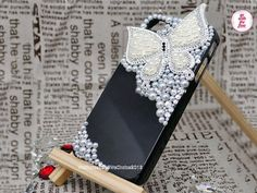 Free Phone Case & White Set Auger Alloy Pearl Butterfly DIY Deco Kit Decoden Kit Cabochon Deco Kit For DIY Cell Phone iPhone 4G 4S 5 Case
