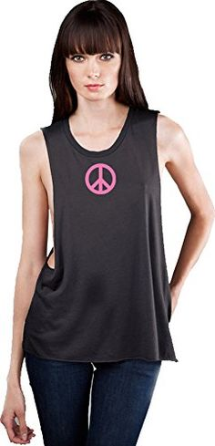 4cf86bcf91 Ladies Deep Side Cut PINK PEACE Tank Large Charcoal Grey    You can find out