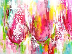 Large Abstract Tulips Painting  - Pink, Red, Chartreuse, Teal Painting - Made to Order - Contemporary Home Decor