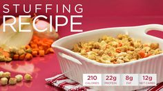 Healthy Holidays Recipe: Quest Stuffing Turkey may be the centerpiece, but good stuffing is the heart and soul. In this Healthy Holidays #CheatClean recipe, we show you how to take one of the most eagerly anticipated dishes at the Thanksgiving table and transform it into a dish you won't feel guilty about indulging in. Fantastic by itself, we guarantee that your guests will be requesting seconds. Macros per serving (serves six): Calories: 210, Fat: 8g, Net Carbs: 12g, Protein: 22g,