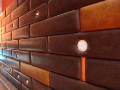 leather wall panels - could make a headboard with this idea Leather Wall Panels, How To Make Headboard, Ceiling Treatments, Saddle Leather, Wall Patterns, Wainscoting, Restaurant Design, Wall Tiles, Diy Furniture