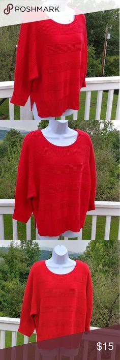 Liz Claiborne Pretty Red Sweater Liz Claiborne Red Sweater-B#7 Liz Claiborne Sweaters Crew & Scoop Necks