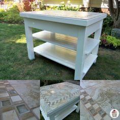 Tiled kitchen island from Hoosier Homemade