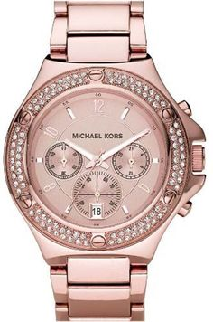 wear with ALL black or ALL white Michael Kors 'Rock Top' Rose Gold Bracelet Watch available at Nordstrom Rose Watch, Mk Watch, Michael Kors Rose Gold, Michael Kors Watch, Micheal Kors Smart Watch, Marken Outlet, Michael Khors, Outlet Michael Kors, The Bling Ring