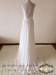 Brautkleider - Ivory Backless Lace Chiffon Beach Bridal Dress - ein Designerstück von ZitaaYoung bei DaWanda