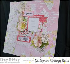 "Itsy Bitsy - The Blog place: ""So in love"" romantic scrapbook layout feat. Pretty in Pink papers"