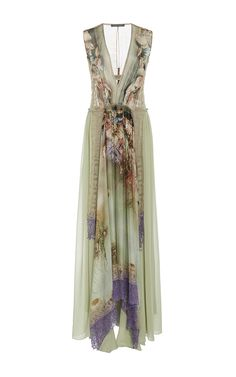 V Neck Chiffon Gown by ALBERTA FERRETTI for Preorder on Moda Operandi