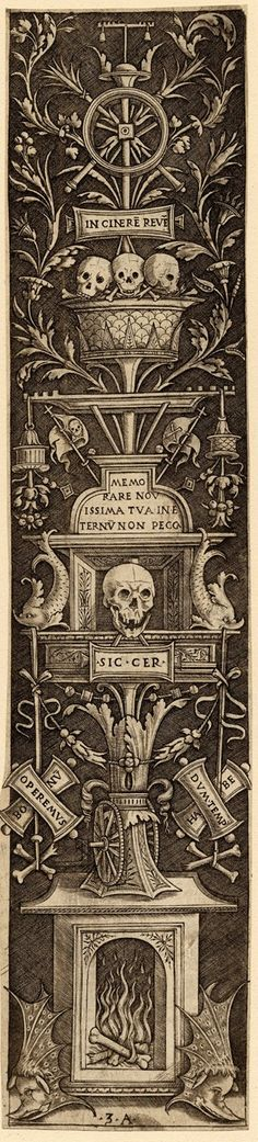 Ornamental panel with a 'memento mori' of skulls and burning bones  Engraving - 1490-1507