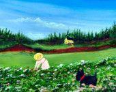 Scottie Dog folk art PRINT of Todd Young