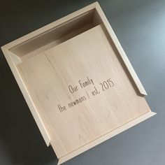 Hard Maple Wood Storage Box with sliding lid with personalized laser engraving. Wooden Photo Box, Wooden Box With Lid, Diy Wood Box, Wood Storage Box, Wooden Gift Boxes, Wooden Gifts, Wood Boxes, Photography Packaging, Logos Photography