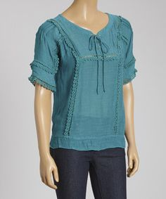 IRE Teal Embroidered Lace-Up Top by IRE #zulily #zulilyfinds