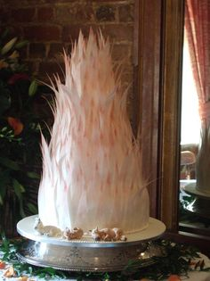 Rice Paper Feather wedding cake 7 tiers!