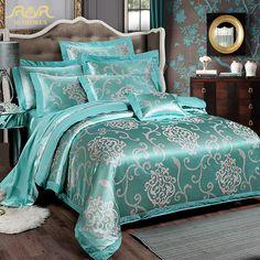Romorus 2016 nieuwe luxe 100 % katoen jacquard satijn turquoise bruiloft beddengoed sets 4 stuks king queen size dekbedovertrek beddengoed set in                                                                                                                    van beddengoed sets op AliExpress.com   Alibaba Groep