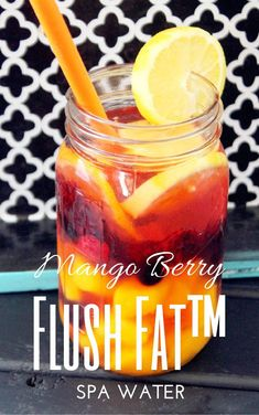 Flush Fat™ Mango Berry Spa Water. This lady has tons of flavored water ideas that are AMAZING. #detowaterideas