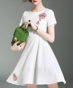 White & pink floral motif dress Sale - ALAROO Sale