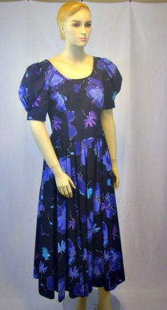 Laura Ashley Dress Black and Purple Flowered 1980's Long Prairie Style Big Bow…