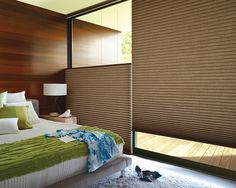 Reflect your distinctive style with the sophisticated texture and warmth of Alustra® Duette®  Architella® honeycomb shades ♦ Hunter Douglas window treatments    #bedroom