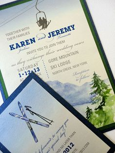 Ski themed wedding invitations for ski enthusiasts. Ski Wedding, Wedding Paper, 2017 Wedding, Wedding Stuff, Dream Wedding, Wedding Ideas, Mountain Wedding Invitations, Simple Wedding Invitations, Ski Lodge Decor