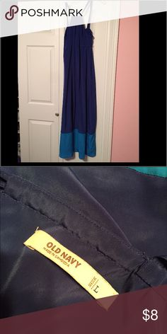 Old navy maxi dress Blue two toned old navy maxi dress. High neck line. Super flattering. Really comfortable. Old Navy Dresses Maxi
