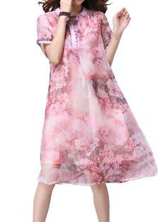 Elegant Women Short Sleeve Button Floral Printing Chiffon Dress