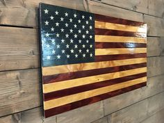 A Rustic Yet Elegant Wooden Flag With Warm Glow All Handmade Individually Cut