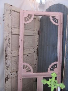 Vintage Pink Screen Door Via Lillys Lace