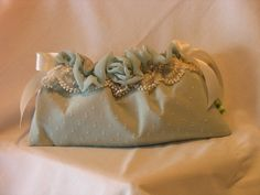 Robins Egg Blue Dotted Swiss Ribbon Clutch by by fancibags on Etsy, $45.00