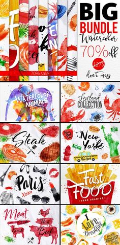 70 OFF - Watercolor Bundle Vol 1 Graphics ---Hi everyone. I want to present you my Watercolor Bundle. This bundle contains all of my best sel by Anna Business Illustration, Pencil Illustration, Watercolor Illustration, Graphic Illustration, Watercolor Animals, Watercolor And Ink, Ps Tutorials, Photoshop Illustrator, Free Graphics