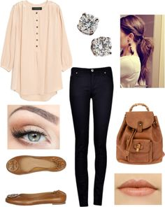 """""""Back to School-Fall"""" by ullmann-lauren on Polyvore  Love the Tory Burch flats and hair style especially"""