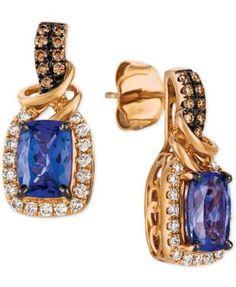 Le Vian Chocolatier® Blueberry Tanzanite® (1-3/4 ct. t.w.) & Diamond (1/3 ct. t.w.) Drop Earrings in 14k Rose Gold