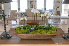 Dough bowls are the perfect decor item as a centerpiece on your table or to use for decoration, adding a stylish aesthetic in your home. Moss Centerpieces, Centerpiece Decorations, Winter Centerpieces, Spring Decorations, Simple Dining Table, Orchid Arrangements, Table Arrangements, Wooden Dough Bowl, Bread Bowls