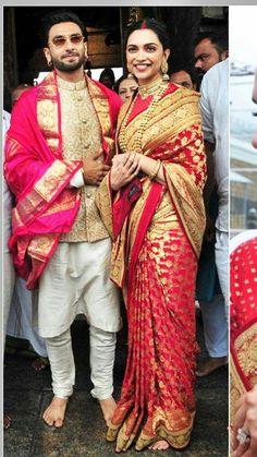 PHOTOS: Ranveer Singh Deepika Padukone look picture perfect at Tirupati on their wedding anniversary Couple Wedding Dress, Wedding Dresses Men Indian, Indian Bridal Outfits, Indian Bridal Fashion, Indian Designer Outfits, Red Saree Wedding, Bridal Sarees, Bridal Mehndi, Indian Dresses