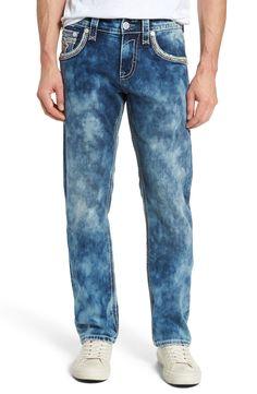 New Rock Revival Straight Leg Jeans (Acid Blue) ,NAVY fashion online. [$169]newtopfashion top<<