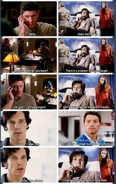 I read it in all their voices! So great SuperWhoLock Johnlock, Destiel, Funny Memes, Hilarious, Fandom Crossover, Supernatural Funny, Fandoms Unite, Dr Who, Superwholock
