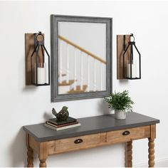 Kate and Laurel - Oakly Wood and Metal Wall Sconce Candle Holder - 7x19 - Rustic Brown