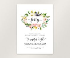 Birthday Invitation, Watercolor Invitation for Women, Floral Invitation, 30th 40th 50th 60th Birthday Invitation. Designed with Watercolor floral elements.