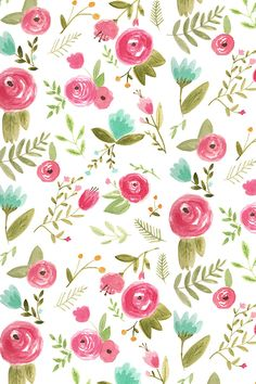 Happy Floral by pacemadedesigns - Handpainted watercolor flowers in pink, green, teal, and yellow on fabric, wallpaper, and gift wrap. Beautiful whimsical floral pattern in a painterly watercolor style.