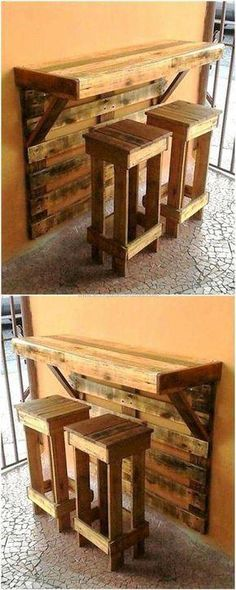 Pallet Projects: Look at this pallet project. A wall mounted bar an... #WoodCraftsJewelry