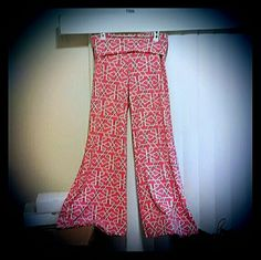 Wide leg pants Polyester, soft dress/casual pants with geometric design and flare legs white mark Pants Boot Cut & Flare
