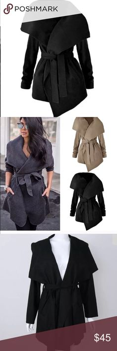 Last call👍🏼Awesome Black oversized trench coat. Perfect jacket for transition weather. Amazing for layering as final layer. Cascade draping with huge fold over collar. Medium weight. Polyester/Cotton blend. Coat is marked XL. Fits L/XL. Please ask questions. Ships within 48hrs. Gift with purchase. Trusted seller. Jackets & Coats