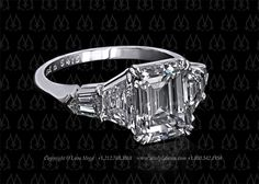 3 carat emerald cut diamond in a five stone ring by leon mege