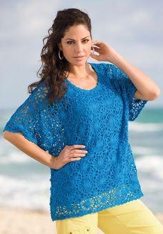Plus Size Dandelion Crop Crochet Sweater | Plus Size Sweaters | Roamans