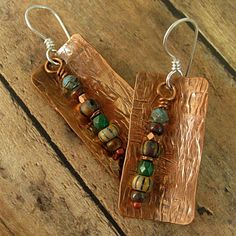 Textured Curved Copper Rectangles with Ethnic Beads Drop Earrings. $26.00, via Etsy.