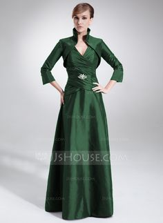 A-Line/Princess V-neck Floor-Length Taffeta Mother of the Bride Dress With Ruffle Beading (008006199) - JJsHouse