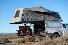 AT Overland Equipment have unveiled the all new Tacoma Habitat truck topper, a lightweight aluminum shell with robust gas springs that allow it to easily open revealing a full stand up room in the bed of the truck. With room for two adults, the shell Truck Canopy Camping, Truck Bed Tent, Camping Hammock, New Tacoma, Tacoma Truck, Overland Tacoma, Truck Toppers, Camping 101, Camping Ideas